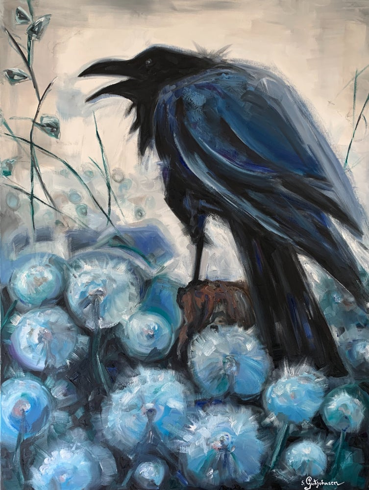 Image of Raven & arctic cottongrass 2