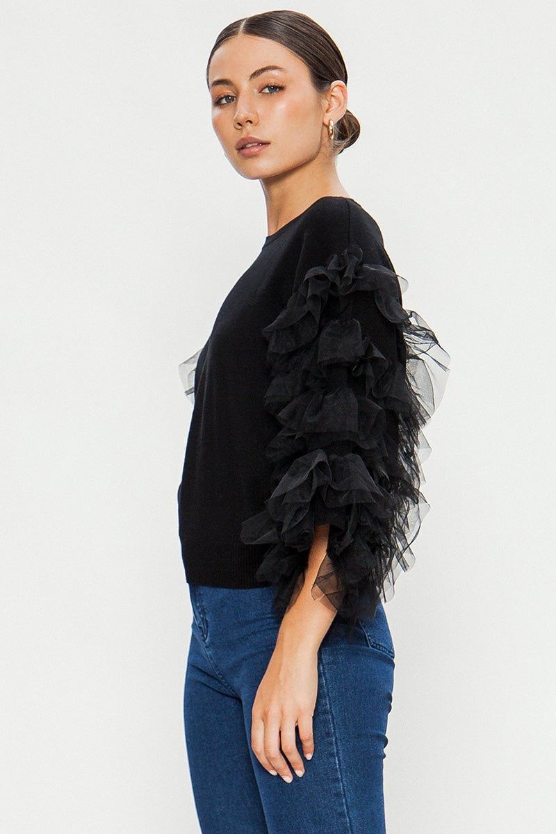 Image of Ruffle Tulle Sleeve Top