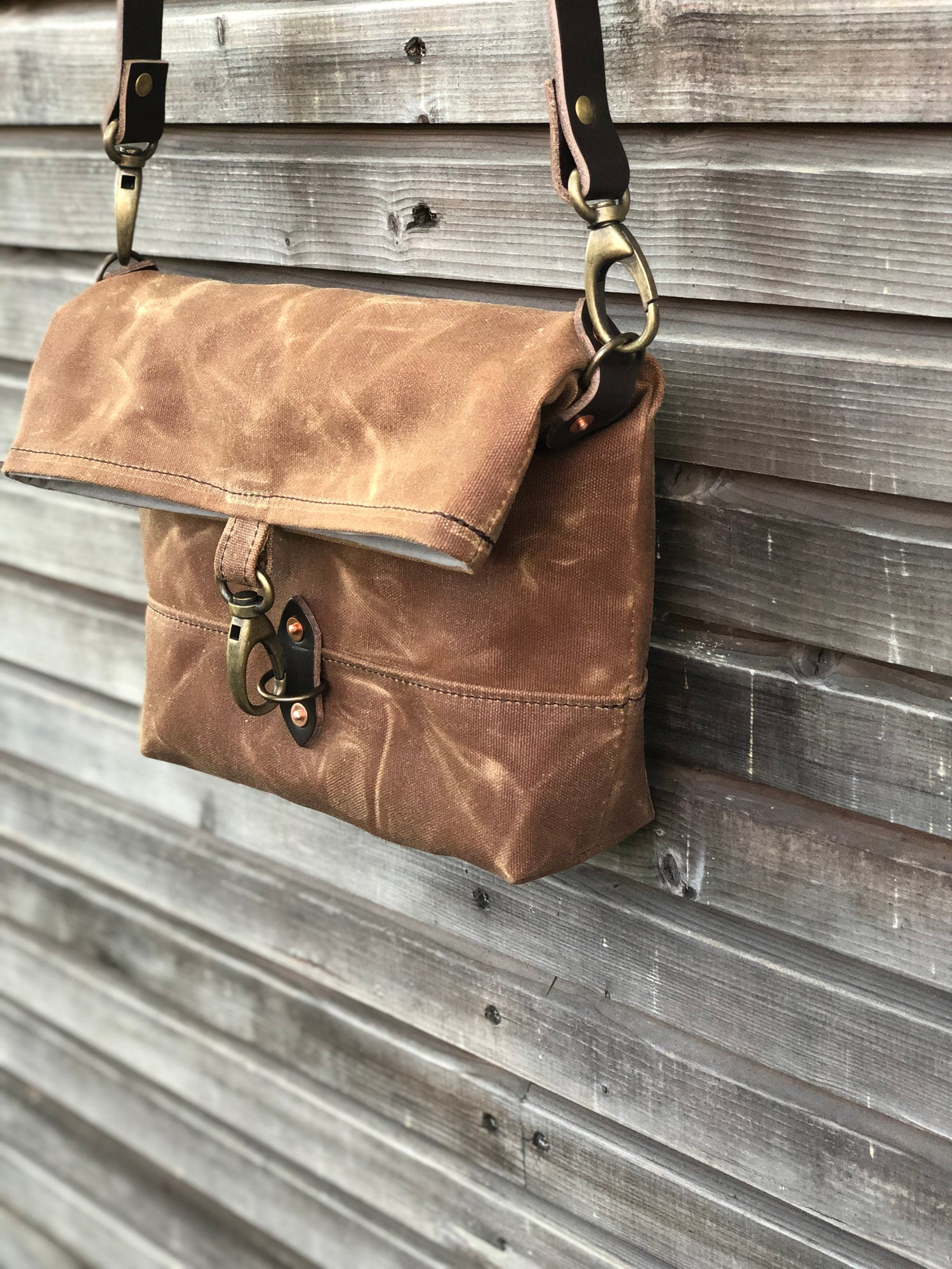 Image of Day bag in waxed canvas with folded top / small messenger bag / canvas satchel