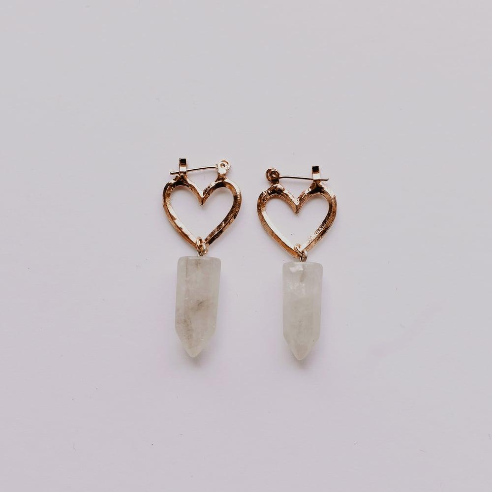 Image of Small Venus Earrings | Rose Gold & Smoky Quartz or Clear Quartz