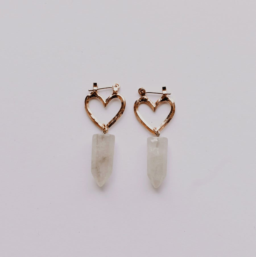 Image of Small Venus Earrings | Rose Gold & Smoky Quartz or Clear Quartz