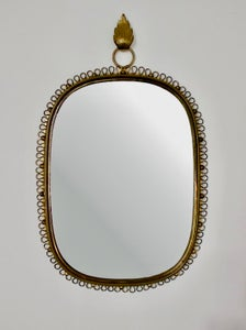 Image of Wall-Mounted Mirror with Brass Loop Frame by Josef Frank, Sweden