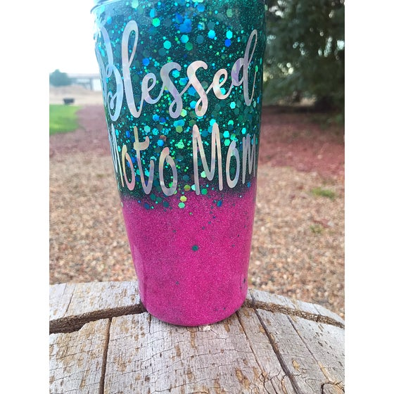 Image of Aqua and Pink Blessed Moto Mom Tumbler