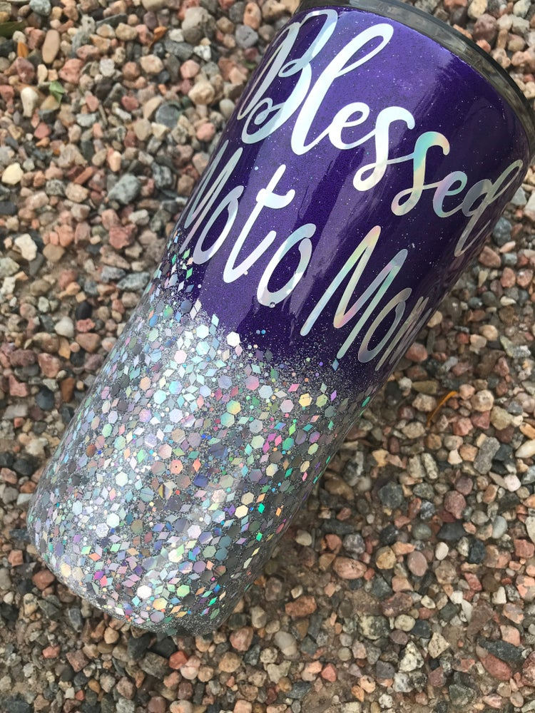 Image of Purple and Silver Blessed Moto Mom Tumbler