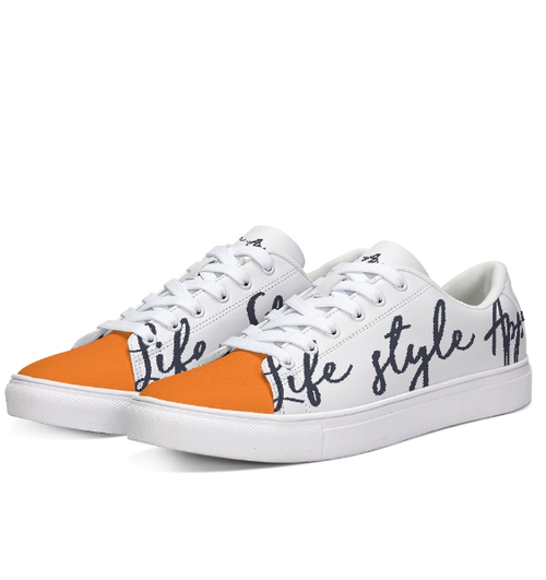 Image of NEW UNISEX ORANGE/NAVY LEATHER LOW TOP SNEAKER