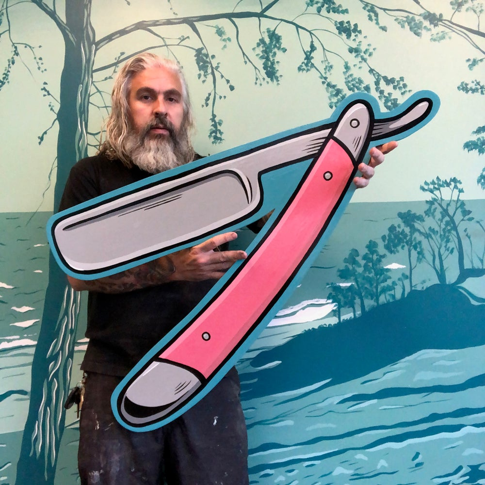 Barber Pole Straight Razor- Hand Painted SIgn