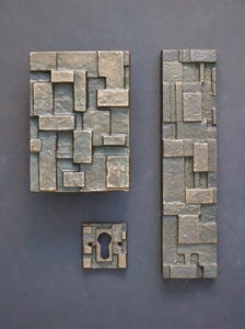 Image of Brutalist Bronze Door Handle and Fittings with Geometric Design I