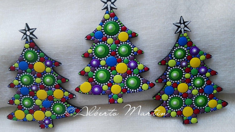 Image of Christmas Tree Ornaments- Dot Art Christmas ornaments. Set of 3. Yellow Dots