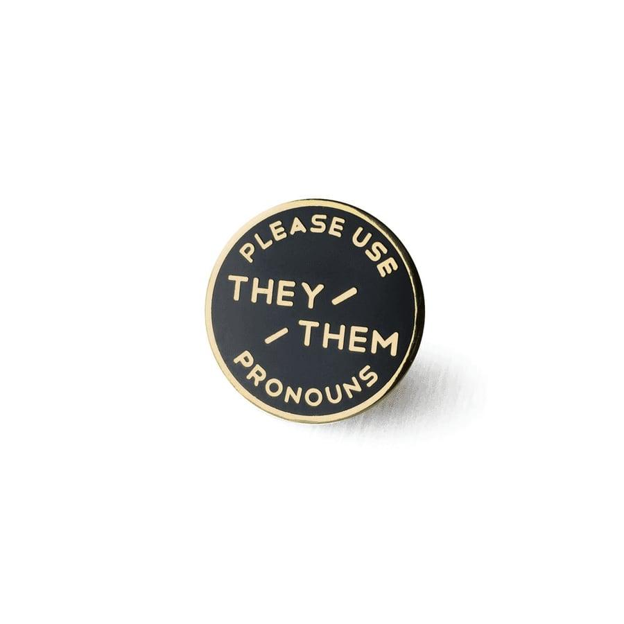 Image of Large They / Them Enamel Pronoun Pin - Black