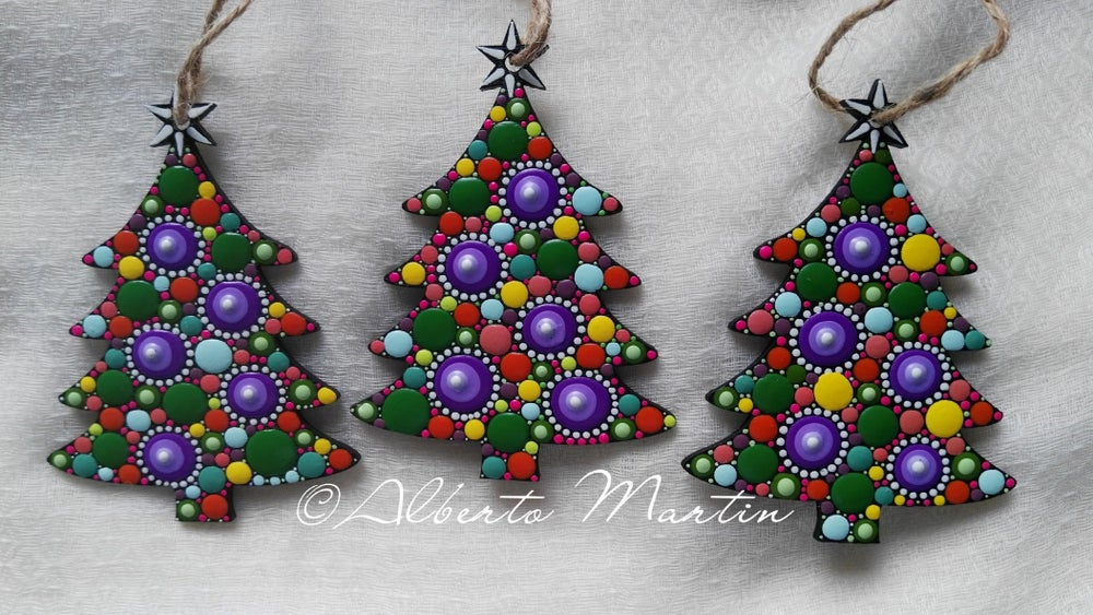 Image of Christmas Tree Ornaments- Dot Art Christmas ornaments. Set of 3. Purple dots