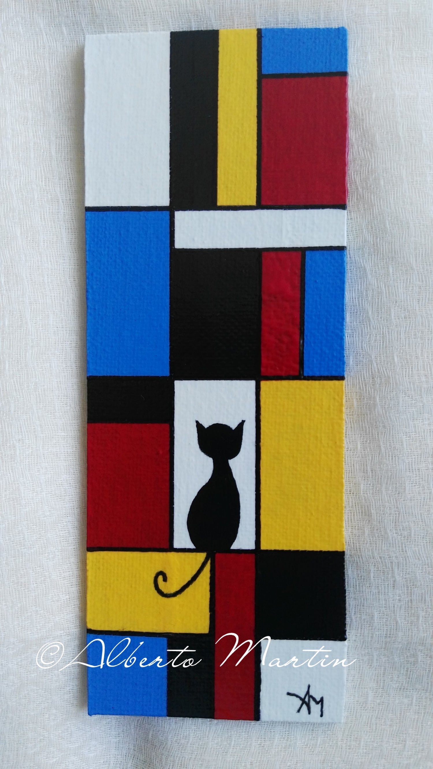 Image of Lonely cat Magnetic painted canvas - Mondrian art inspired- Geometric art by Alberto Martin