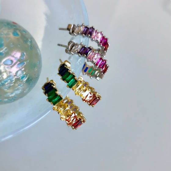 Image of Rainbow Baguette Medium Hoops