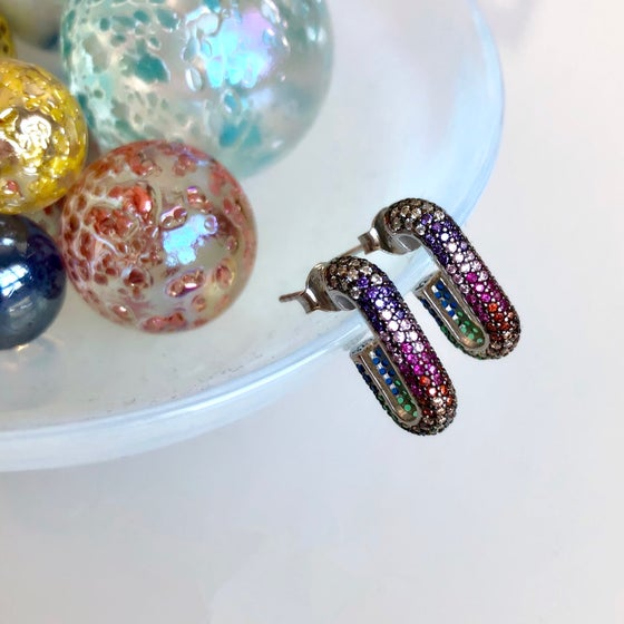 Image of Rainbow Ombré Bar Earrings