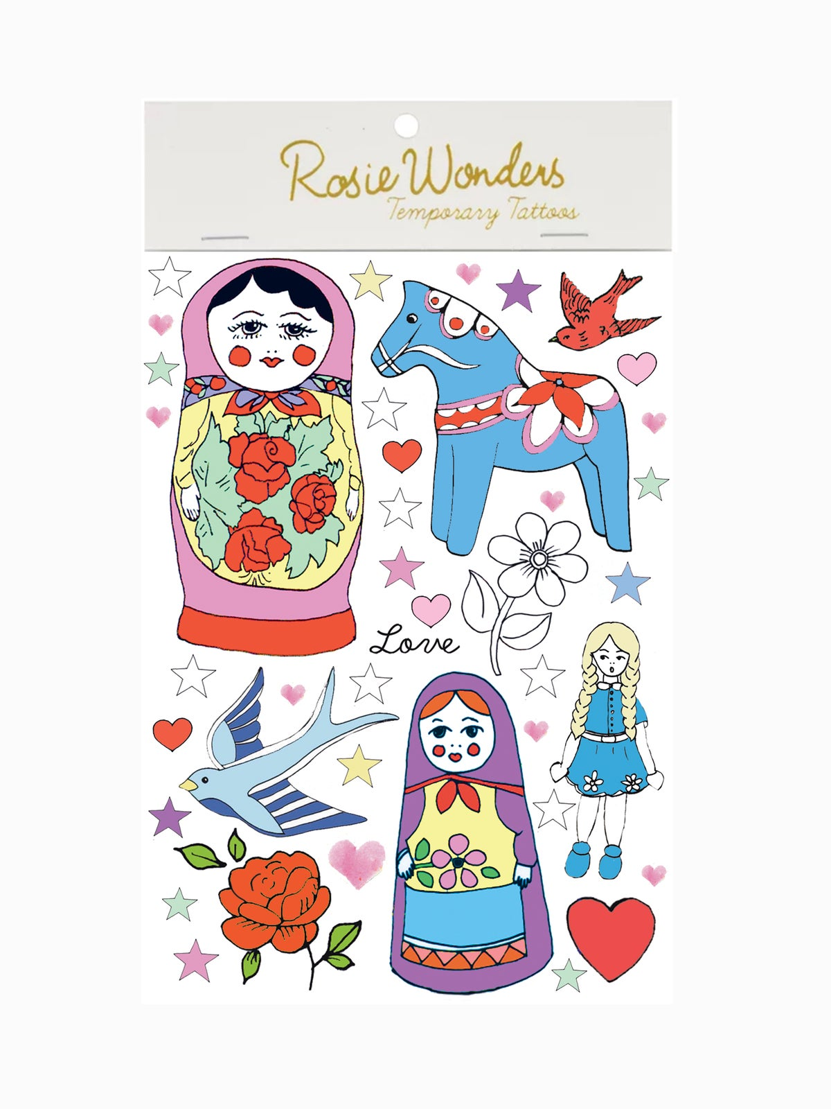 Rosie Wonders Temporary Tattoos Russian Doll (girls)