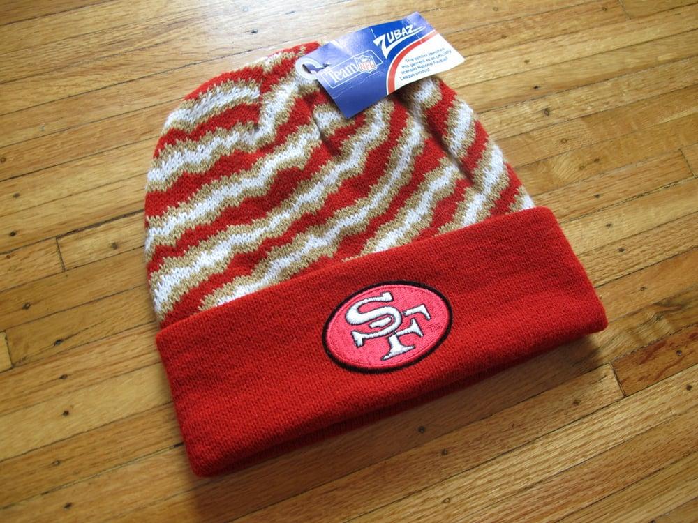 Image of Vintage San Francisco 49ers Zubaz Beanie Cap
