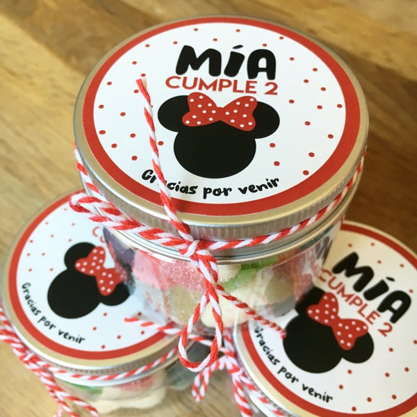 Image of Tarritos de chuches cumple - Minnie Lunares
