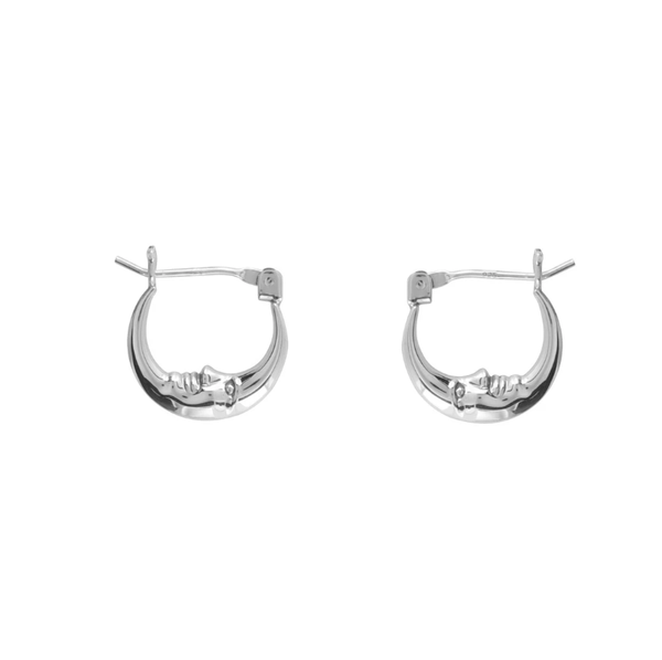 Image of Demilune sleeper hoop earrings (sterling silver)