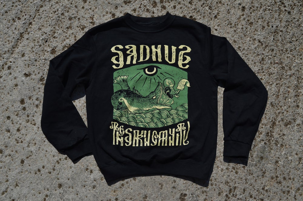 """Image of """"In The Belly of The Beast"""" Sadhus X Filthy Fabric Black Crewneck Sweatshirt"""