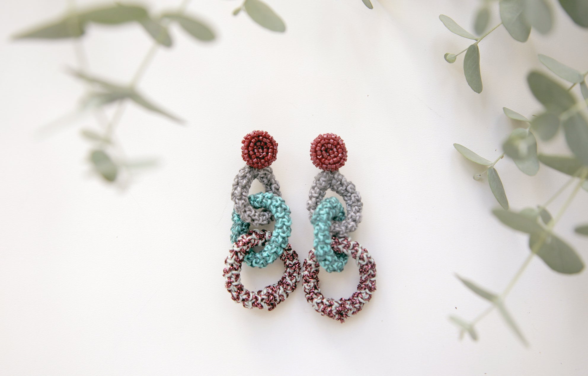 Image of Turquoise-Purple Bonded Together earrings