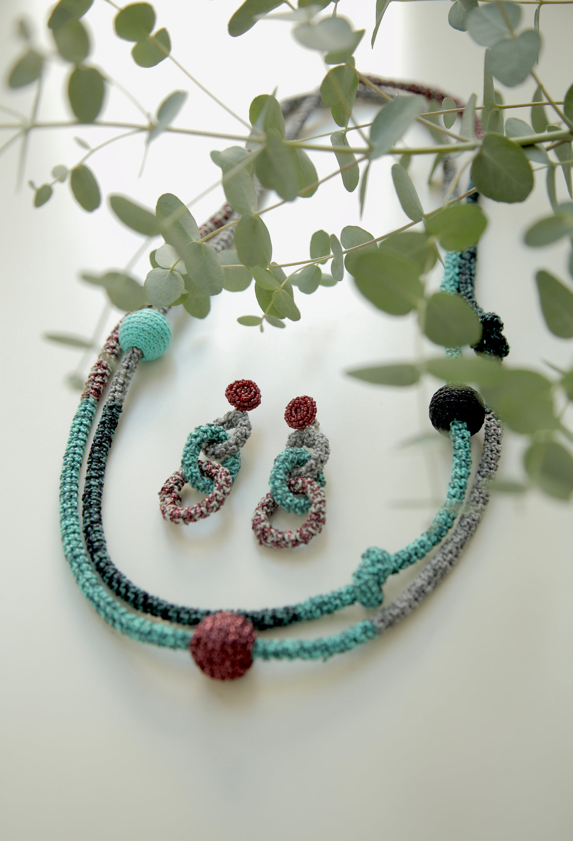 Image of Turquoise-Purple Snake Necklace