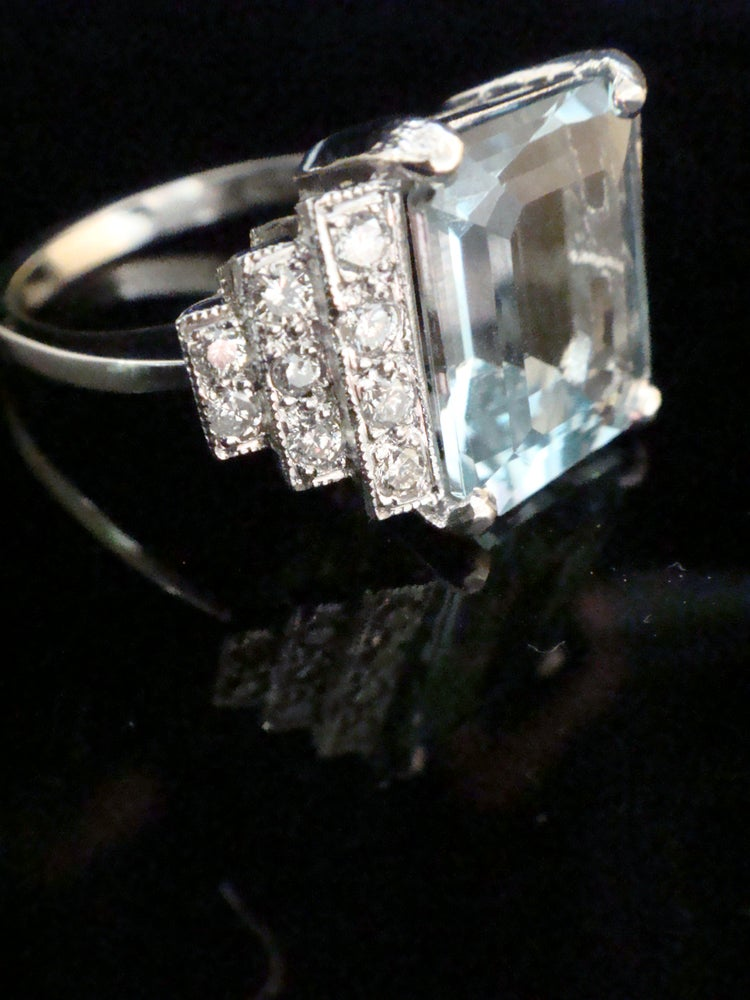 Image of Deco style 18ct white gold aquamarine 3.55ct and diamond 0.30ct ring