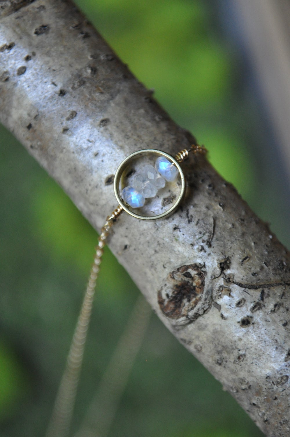 Image of The Halo Necklace - in Rainbow Moonstone