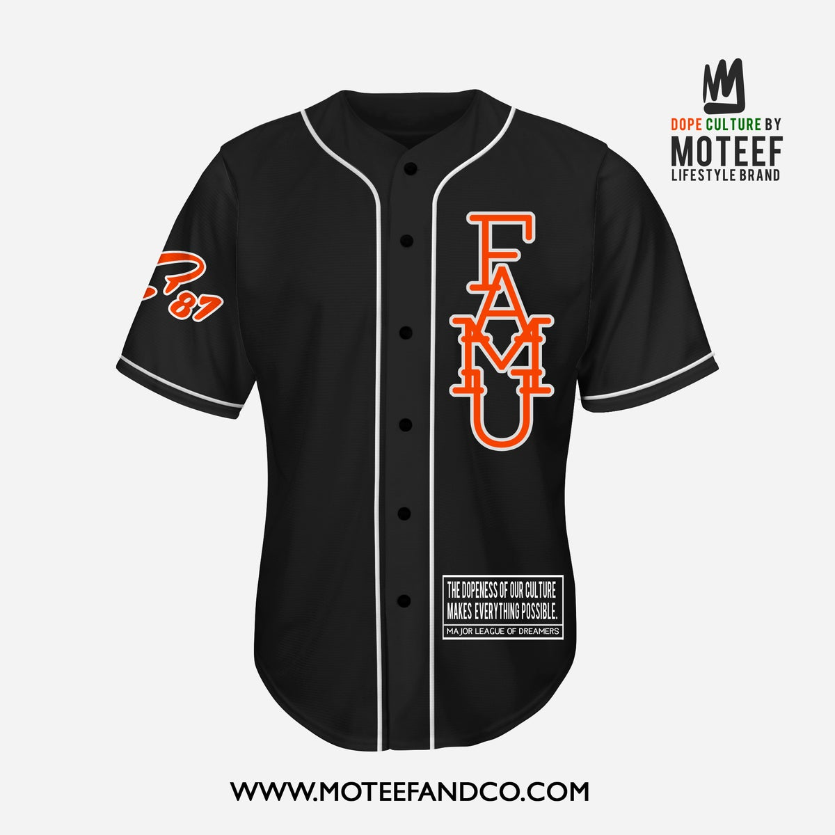 Image of FAMU State of Mind Baseball Jersey BLACK