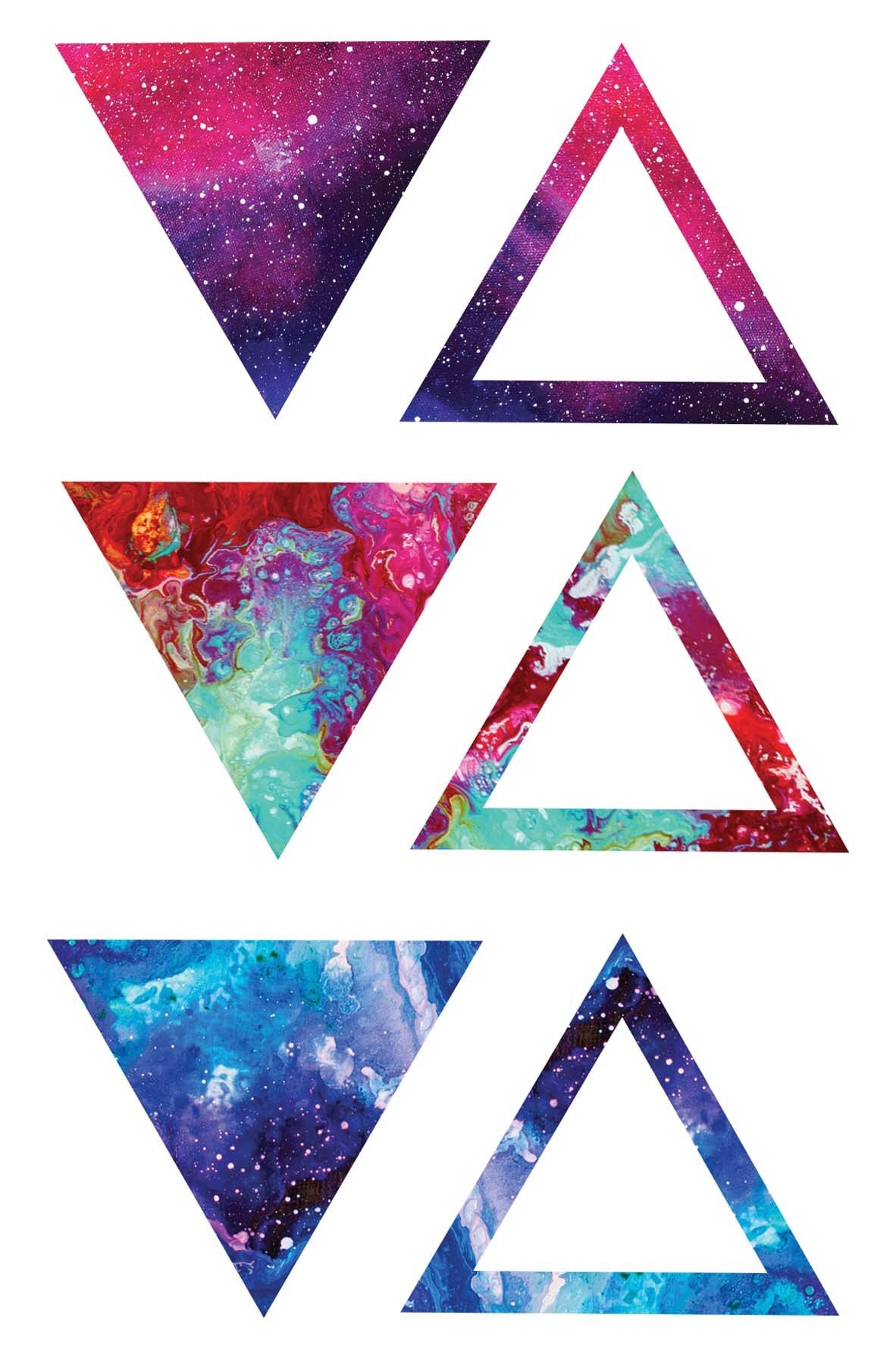 Image of  abstract triangle temporary tattoo pack