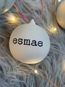 Image of Stamped personalised ceramic bauble