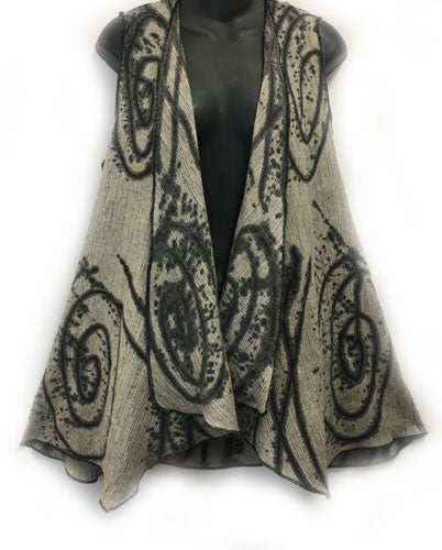 "Image of Drape front Vest - Cotton - Hand Painted ""Exuberance"" Design."