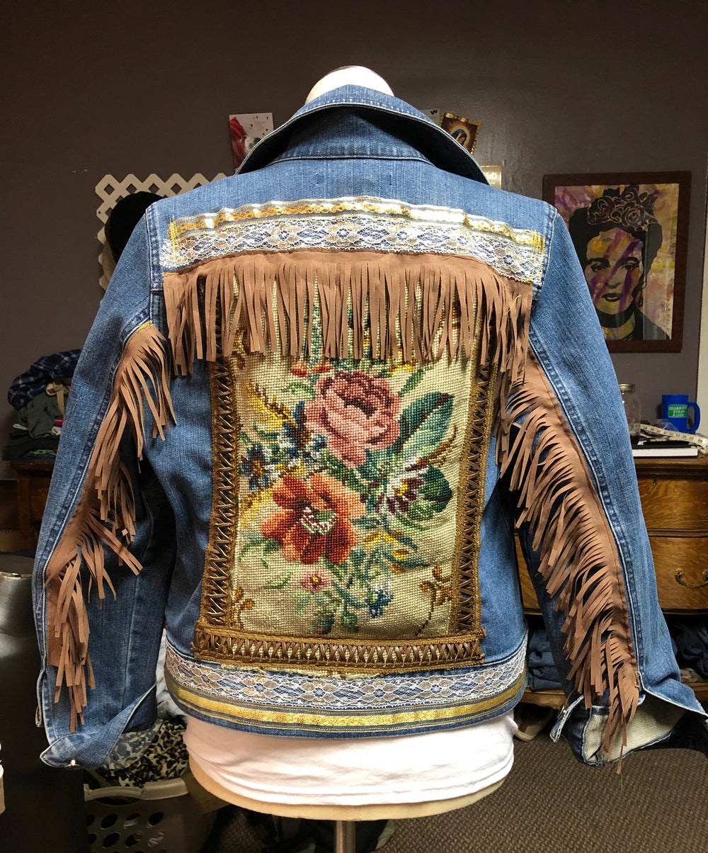 Repurposed Needlepoint boho jean jacket
