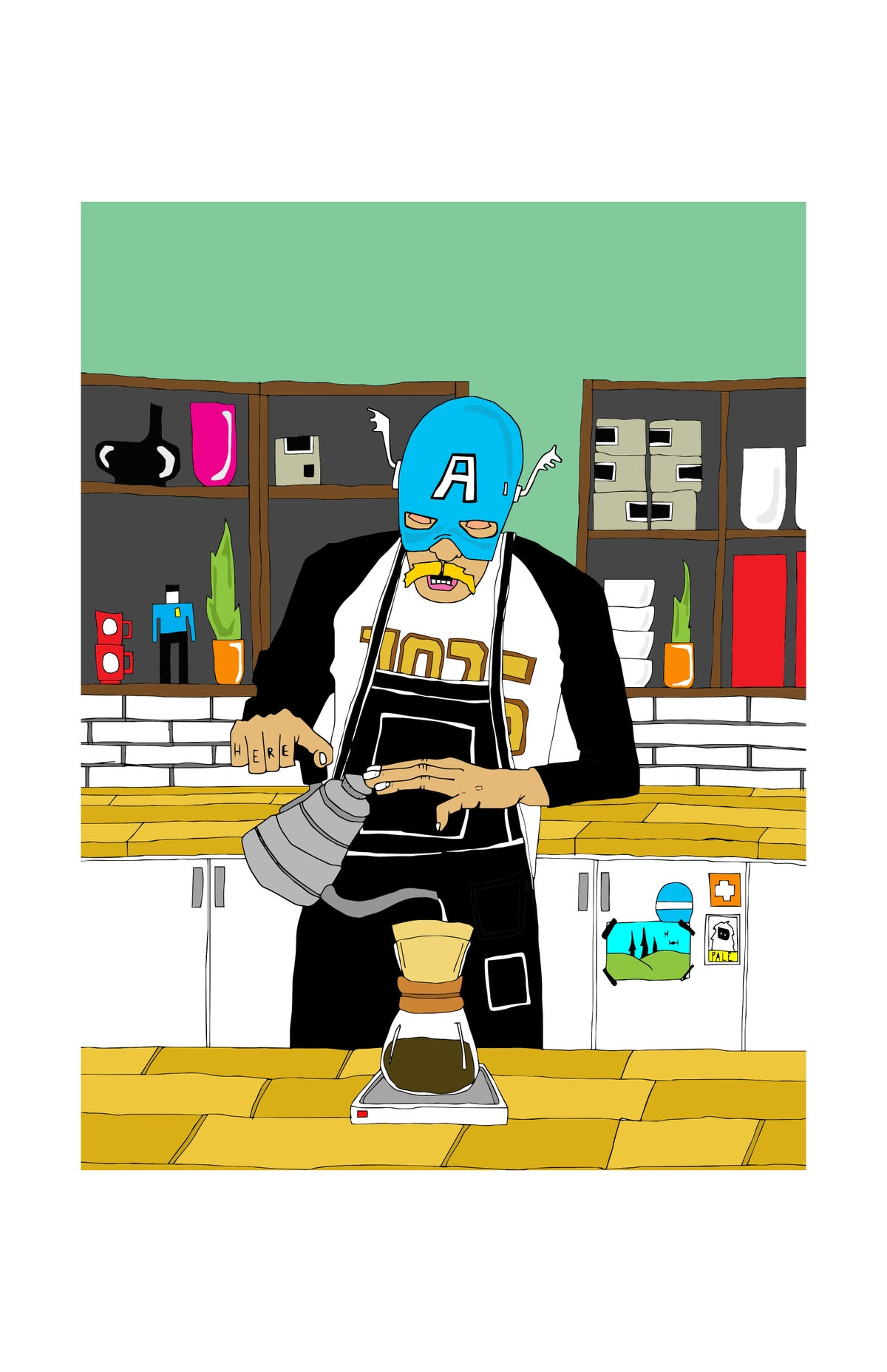 Image of 'Steve Pours a Coffee' print