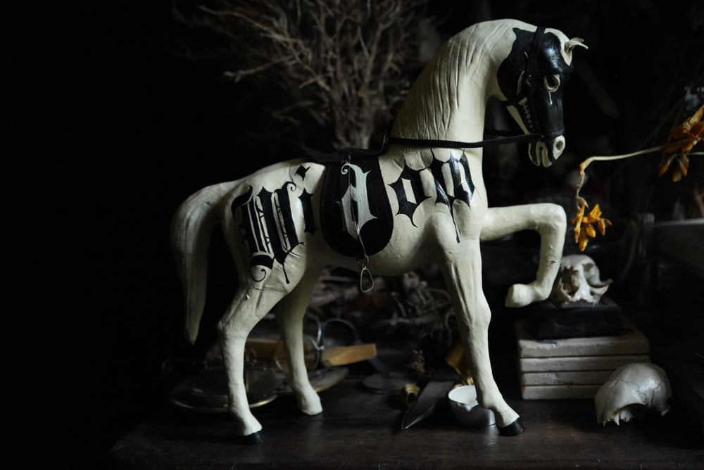Image of White Widow Hand painted vintage Death horse