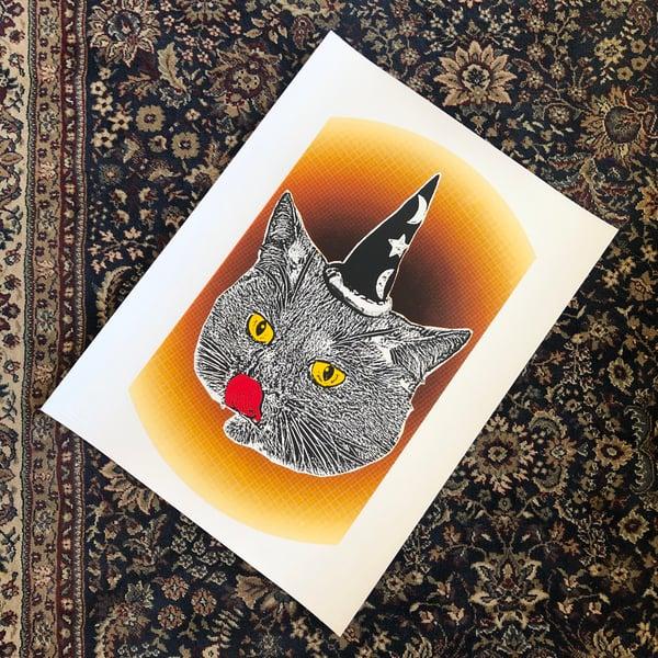 """Image of Cat Gods """"cat wizard/ orange, red, black"""
