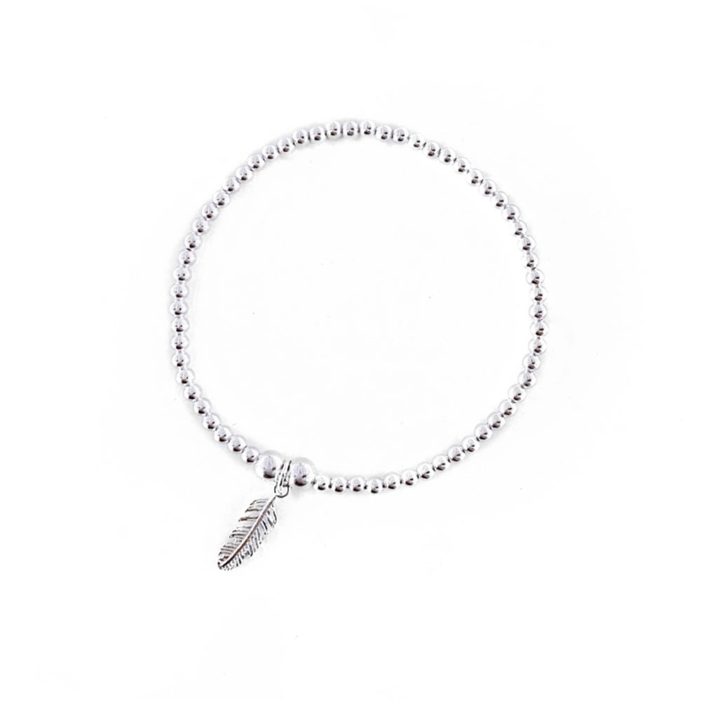 Image of Sterling Silver Feather Charm Bracelet