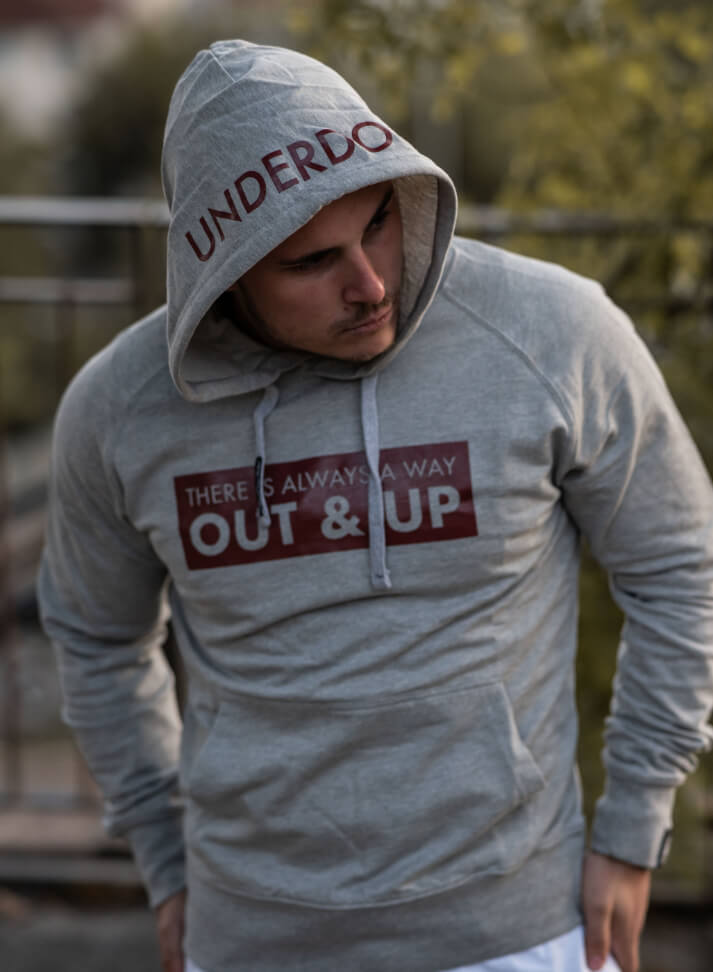 Image of OUT&UP HOODIE | GREY & Burgundy