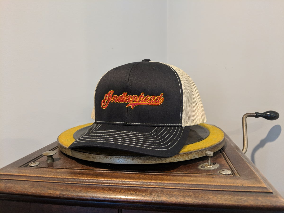 Image of Trucker Hat - Black and Gold/tan with red logo