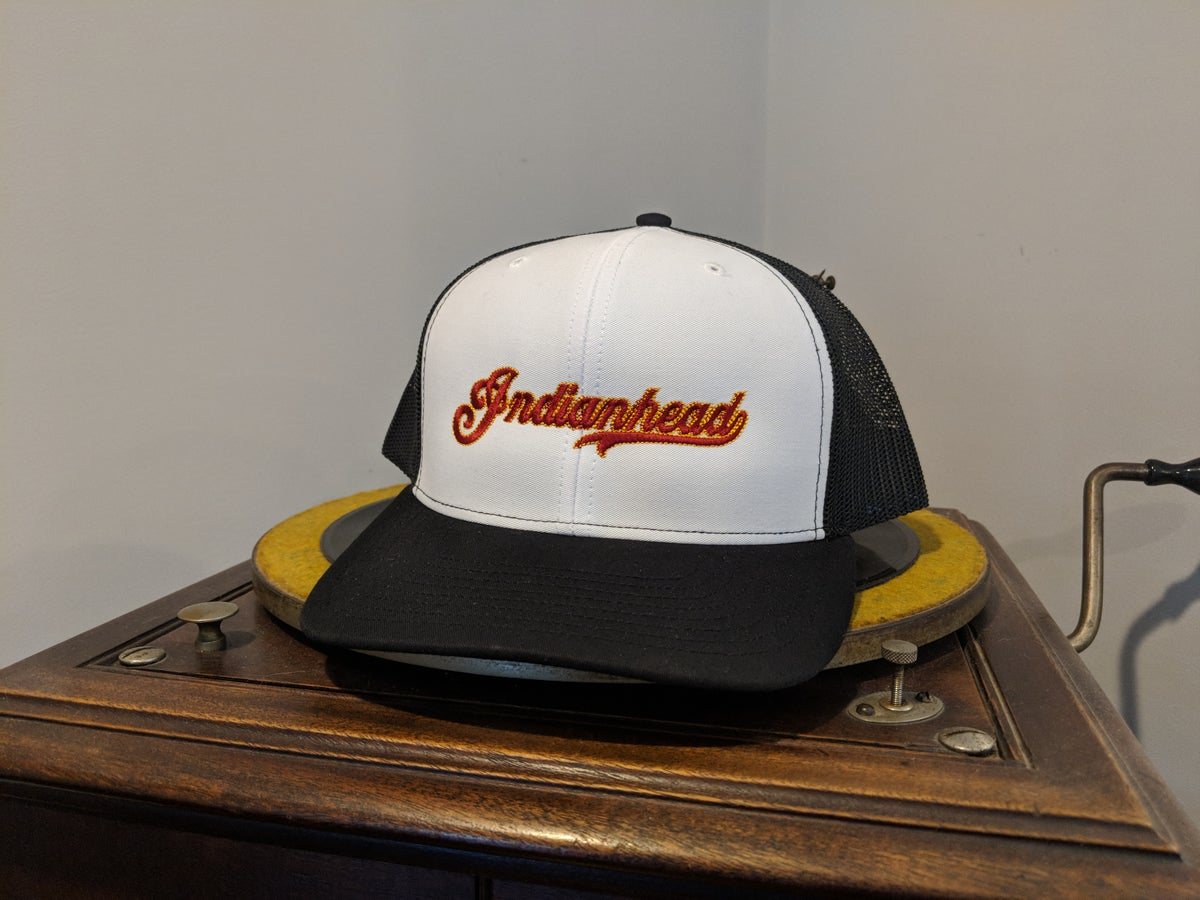 Image of Trucker hat - White/Black with red logo