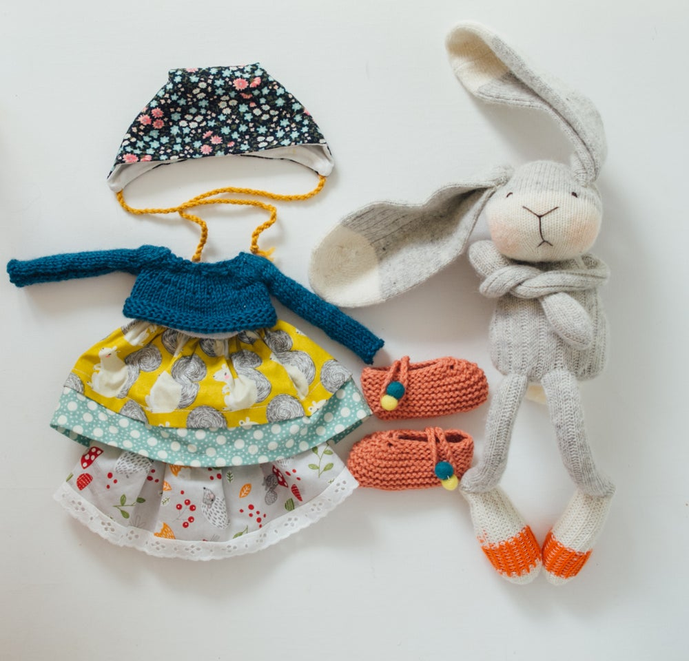Image of Ginny - Wool Filled Sock Bunny with weighted bottom and removable clothing