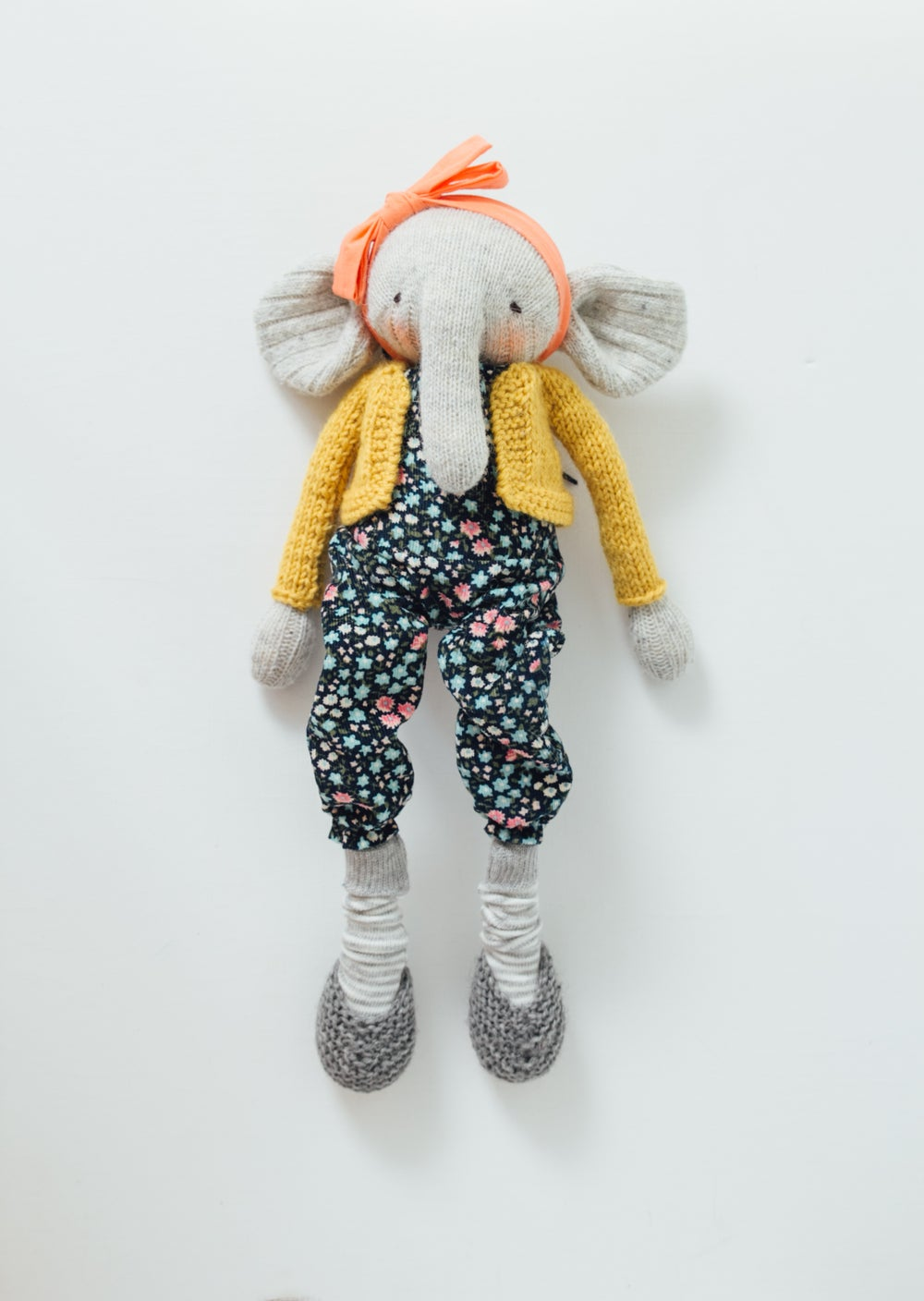 Image of Tilly - Wool Filled Sculpted Sock Elephant