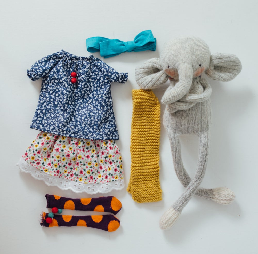 Image of Betsy - Wool Filled Sculpted Sock Elephant with weighted bottom and removable clothing