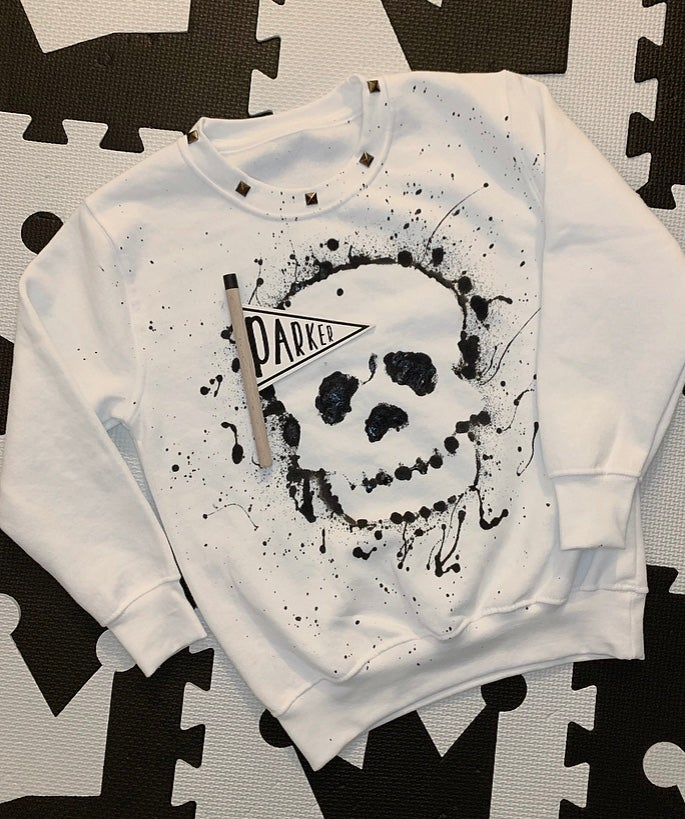 Image of White Skull Studded Sweater