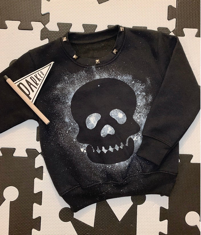 Image of Black Skull Studded Sweater