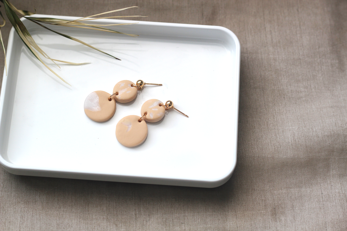 Image of NALAH \\ Peach And Gold Dangle Drop Earrings