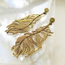 Image 2 of Golden Feather Earrings