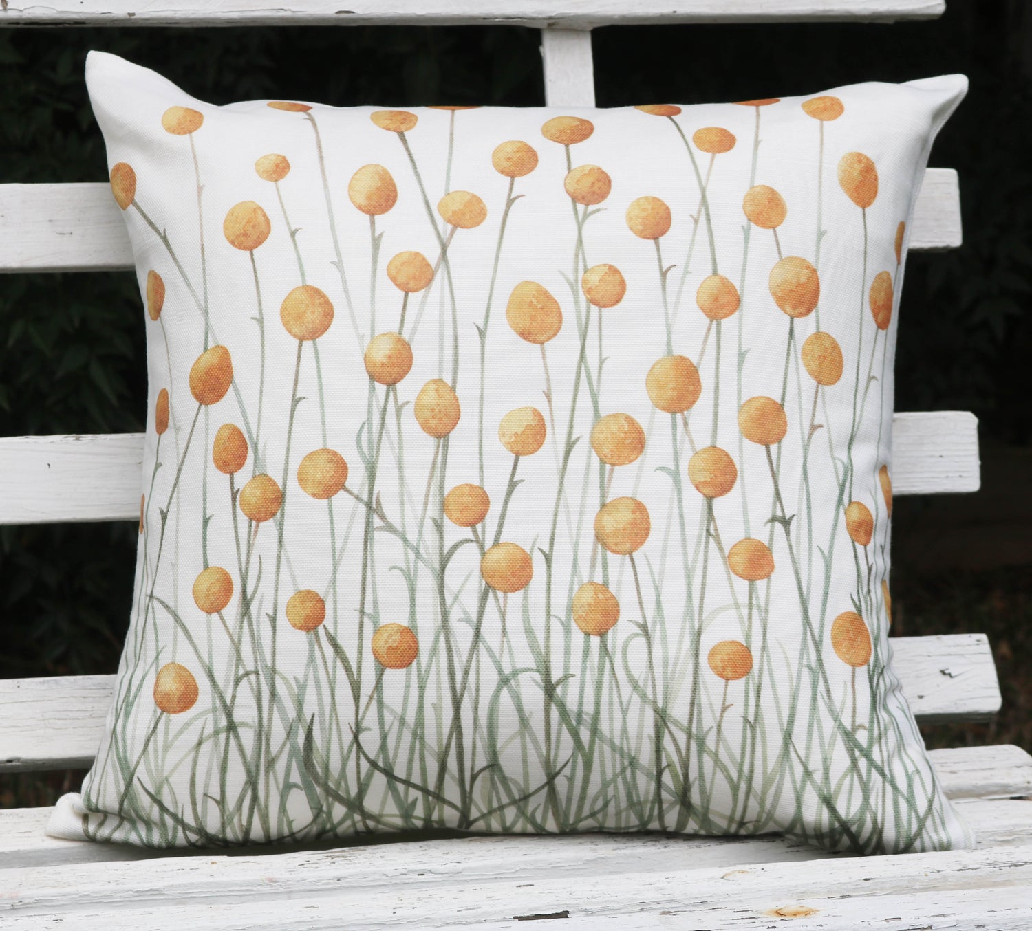 Image of Billy Buttons Belgian Cotton/Linen Cushion