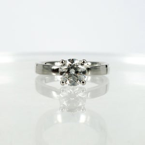 Image of 18ct white gold four claw diamond solitaire engagement ring