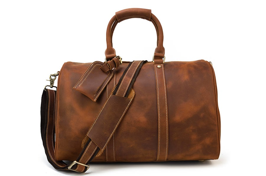 Image of Handcrafted Genuine Leather Travel Bag, Duffle Bag, Overnight Bag, Weekender Bag XK12027