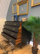 Image 3 of Black & Gold G Plan Tola chest of drawers