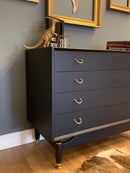 Image 2 of Black & Gold G Plan Tola chest of drawers